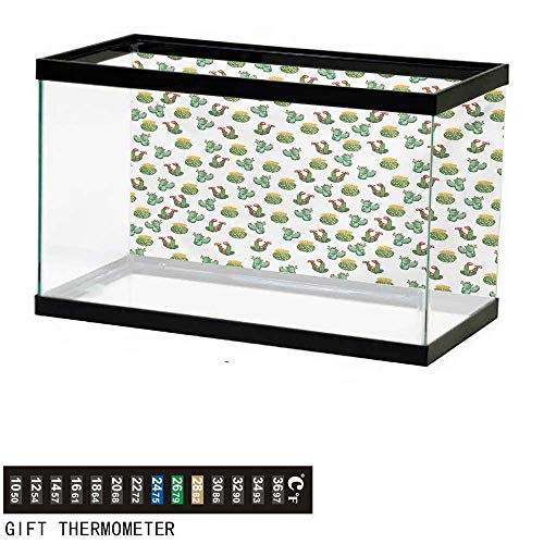 wwwhsl Aquarium Background,Plants,Floral Theme Watercolor Style Effect Illustration of Cactus and Suculent Prints,Green Yellow Fish Tank Backdrop 72