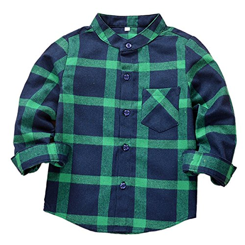 SERAIALDA Baby Boys Girls Button Down Plaid Flannel Long Sleeve Shirt 2T-3T(Tag Size 100) (3 Button Flannel)