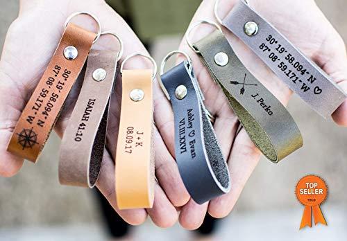 Custom Leather Keychain   Personalized Keychain - USA