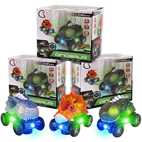 3 Pack Dinosaur Cars with LED Light & Sound Dino Car Toys Car Gifts Animal Vehicles Monster Truck Playset for Boys Girls Toddles Kids Birthday Gifts Classroom Prize