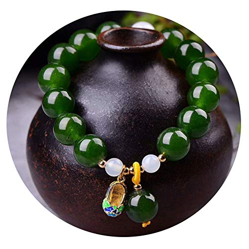 QIUHUAXIANG Green Chalcedony Crystal Bracelets 12mm Beads with Cloisonne Shoes Pendant Bracelet Lucky for Women Jewelry