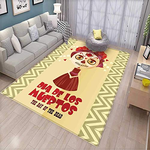 Day of The Dead Kids Carpet Playmat Rug Spanish Dia de Los Muertos Print Girl with Gothic Makeup Print Door Mats for Inside Non Slip Backing Cream Burgundy and Red