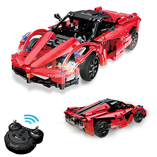 Geekper RC Building Block Car - 380 PCS Remote Building Blocks Rechargeable Racing Electric Vehiclefor for Kids - Ferrari Customize Your