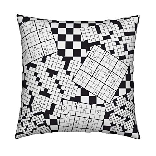 - Short Plush Soft Decorative Square Throw Pillow Cover Cushion Case Cover Pillow Case Cover for Sofa Bedroom Car 18x18 Inch - Puzzle Crossword Sudoku Black
