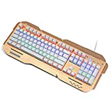 DZT1968 USB Wired Illuminated Colorful LED Backlight Metal Gaming Keyboard