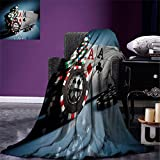 smallbeefly Poker Tournament Decorations Digital Printing Blanket Gambling Chips and Pair Cards Aces Casino Wager Games Hazard Summer Quilt Comforter Multicolor