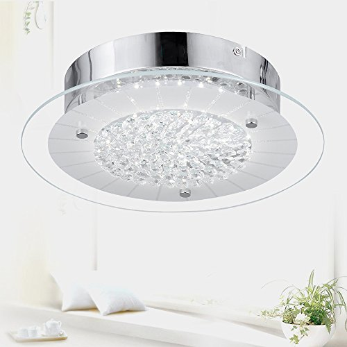 Flush Mount Ceiling Light Ceiling Fan Pendant Light Chandelier LED Dimmable Contemporary Roundness Glass Crystal Pendant Light for Home Decor Porch Light ,Ceiling Lamp Children's Room Lamp Dia-11''