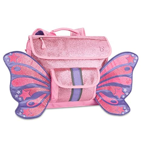 Bixbee Sparkalicious Butterflyer Kids Backpack, Pink Glitter, Small