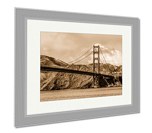 Ashley Framed Prints Amazing View Over Golden Gate Bridge In San Francisco, Contemporary Decoration, Sepia, 26x30 (frame size), Silver Frame, - Union Francisco Square Shops San