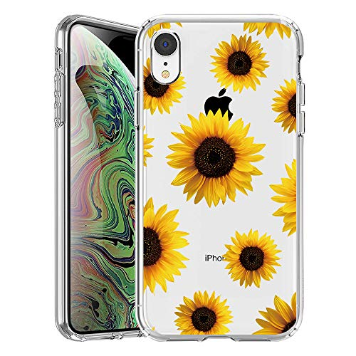 GoldSwift Clear Case with Designed for iPhone XR with Tempered Glass Screen Protector (Sunflower)