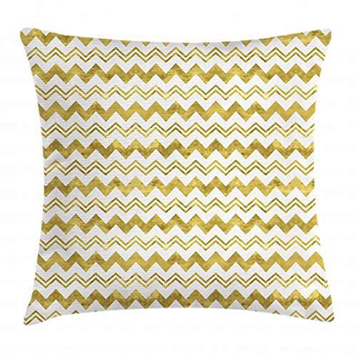 Ambesonne Geometric Throw Pillow Cushion Cover, Horizontally Echeloned Design Unbalanced Chevron Style Zigzag Pattern, Decorative Square Accent Pillow Case, 36 X 36 Inches, Pale Coffee and White
