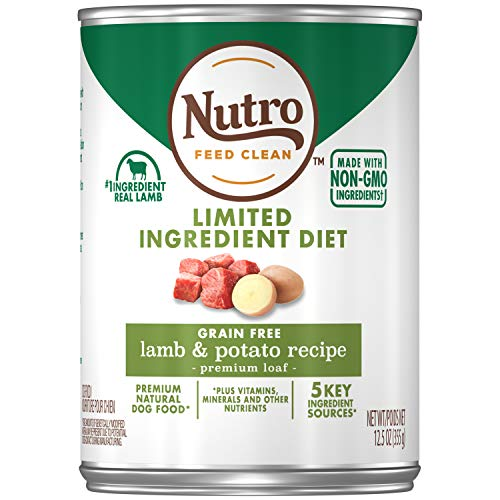 NUTRO Limited Ingredient Diet Adult Canned Wet Dog Food Premium Loaf Lamb & Potato Recipe, (12) 12.5 oz. Cans