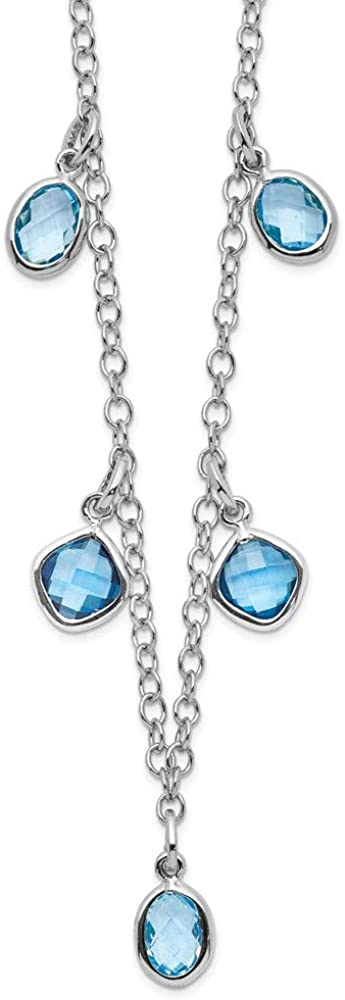 925 Sterling Silver Rhod Plat London Sky Blue Topaz 2 Inch Extension Chain Necklace Pendant Charm Gemstone Fine Jewelry Gifts For Women For Her