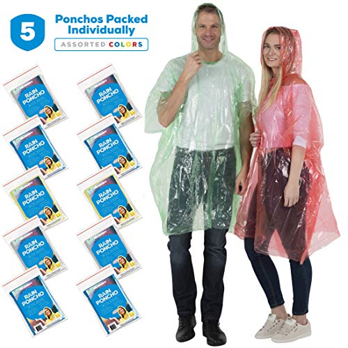 Wealers Disposable Rain Ponchos for Adults - 5 Pack Thick Raincoat Poncho with Hood for Women & Men, One Size Fits All - Emergency Poncho for Theme Parks, Camping, Outdoors - Multi Color