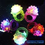 Novelty Place [Party Stars] Flashing LED Bumpy Jelly Ring Light-Up Toys (48 Pack)