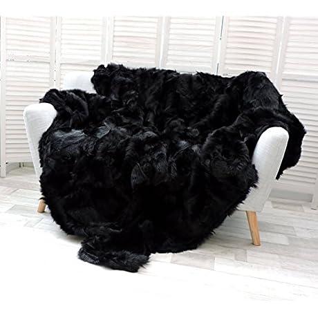 Amazing Tuscan Lambskin Fur Throw Blanket Rich Black I04