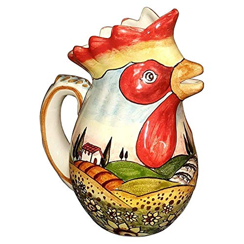 CERAMICHE D'ARTE PARRINI - Italian Ceramic Art Pitcher Vine Vino Jar Pottery Decorated Landscape Sunflowers Hand Painted Made in ITALY Tuscan ()