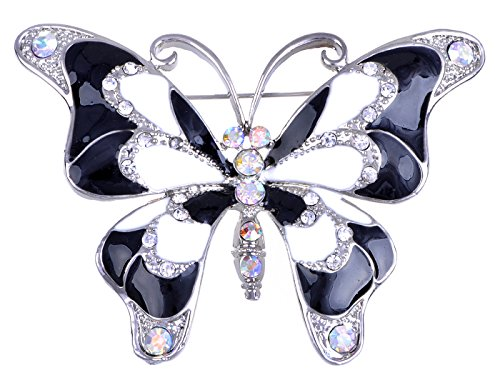 Alilang Silvery Tone Iridescent Clear Rhinestones Black Butterfly Insect Brooch Pin (Designer Brooch Black)