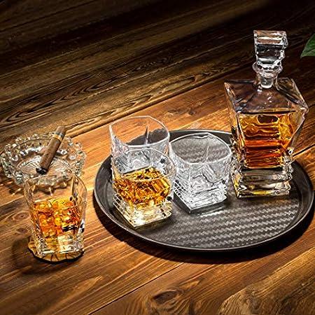 KANARS 5 Piezas Jarra de Whisky, 100% Libre de Plomo Cristalino Resistente Botella de Whisky Set para Scotch, Bourbon,800ml Decantador y 4 Vasos de Whisky 260ml, Caja de Regalo