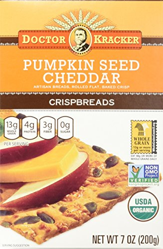 - Doctor Kracker Organic Crispbread, Pumpkin Seed Cheddar, 7 Ounce (Pack of 6)