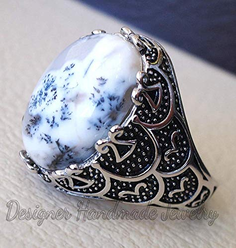 Dendritic opal agate natural stone semi-precious ring, sterling silver 925 man ring, ottoman turkey middle eastern antique style dendritic agate ring, men's ring, men's biker ring