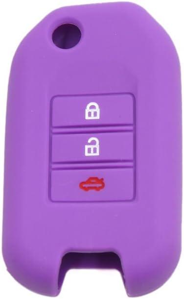 uxcell Purple Silicone Three Button Car Remote Key Cover Case Protective for Honda Civic