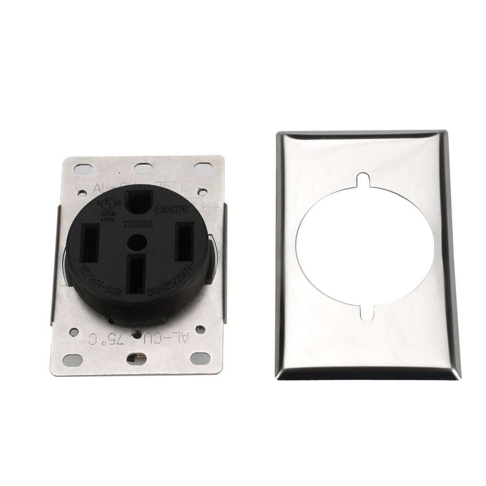 Dryer Receptacle Nema 14 50r 3 Pole 4 Wire 125 250v Ac And Industrial 30 Amp Flush Mount Power With 3wire 50 Female Heavy Duty Installing Screws Stainless