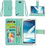 Galaxy Note 2 Case, IZENGATE [Classic Series] Wallet Case Premium PU Leather Flip Cover Folio with Stand for Samsung Galaxy Note 2 (Mint)