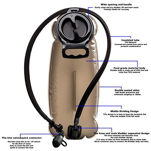 Hydration Bladder BPA free Reservoir - BONLEX Water Reservoir Bladder of Hydration Pack Backpack Replacement 2L/70 Oz,Military Class,Tube Insulated,Tastefree for Biking Hiking Camping Outdoor Sports