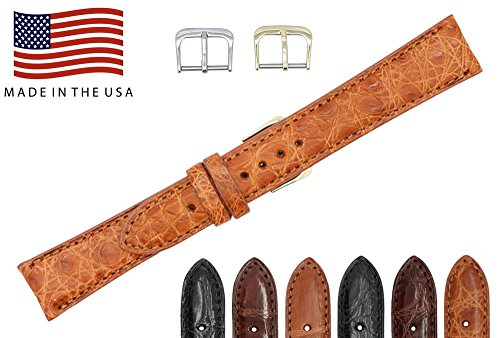 16mm Cognac Genuine Crocodile – Matte Padded Stitched – American Factory Direct - Replacement Watch Band Strap - Gold & Silver Buckles Included – Made in The USA by Real Leather Creations FBA474 ST