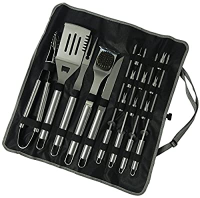 17 Piece Stainless Steel BBQ Grill Set - Barbecue Accessories Grilling Kit Set - by Simplistex