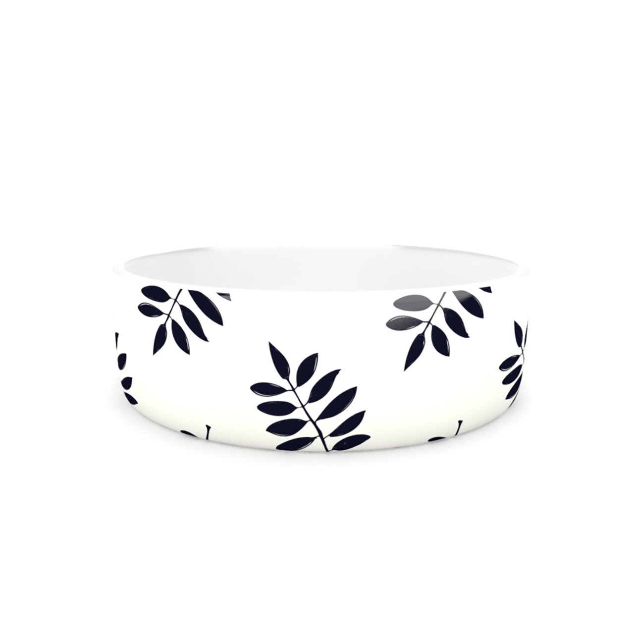 Kess InHouse Laurie Baars Pagoda Leaf Small  Pet Bowl, 7-Inch, Black White
