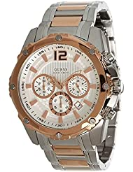 Guess Chronograph Silver Dial Plated Stainless Steel Bracelet Men watch Japanese Quartz (U0165G2)