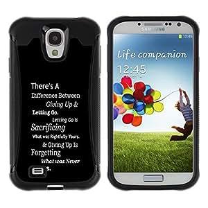 "Pulsar iFace Series Tpu silicona Carcasa Funda Case para Samsung Galaxy S4 IV I9500 , Inspiring Negro Mensaje Texto blanco inteligente"""