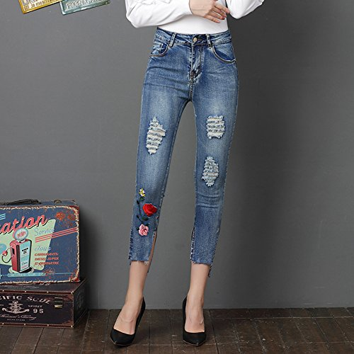 Taille Stretch Oudan Trou Femme Haute Skinny Denim Bleu Clair Up Bleu Et Push Dchir Pantalons Slim Jeans Brod qr8tw85X