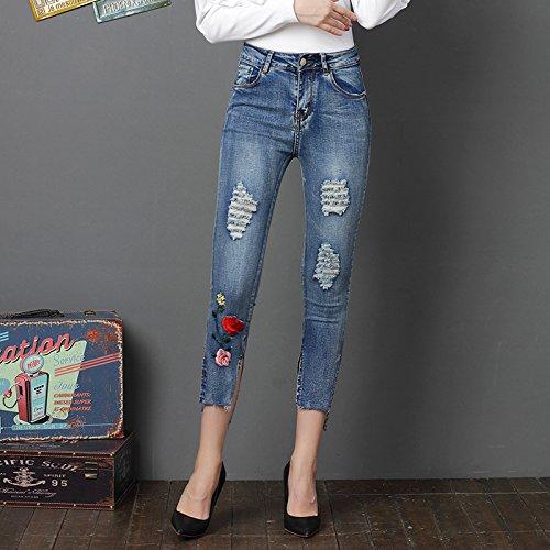 Stretch Clair Push Jeans Et Bleu Slim Pantalons Femme Trou Brod Haute Up FuweiEncore Bleu Denim Taille Dchir Skinny xWH1TAqX