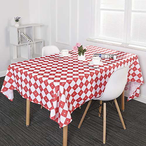 SUO AI TEXTILE Red and White Checkered Tablecloth Banquet Disposable Table Cover Party Favor Plaids Style 60x120 Inches