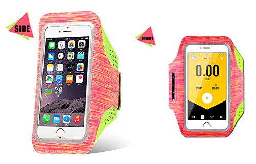 EAOOK Water Resistant Cell Phone Armband for Phone Skin-Friendly Soft Fabric with Adjustable Reflective Band & Full Screen Protector (Orange, 5.0''-5.8'')