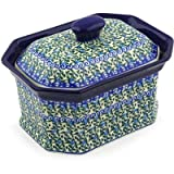 Polish Pottery Jar with Lid 8-inch Blue Ivy