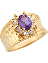 14k Yellow Gold Synthetic Amethyst White CZ Hammered Wide Band Ladies Ring