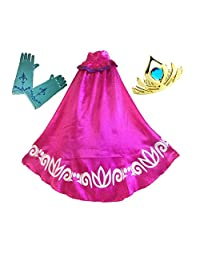 Swaroser Elsa Coronation Costume Girl's Long Cape Clock with Gloves and Crown