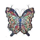 Chloe Lighting 22×22 Papilio Tiffany-Glass Butterfly Window Panel, One Size