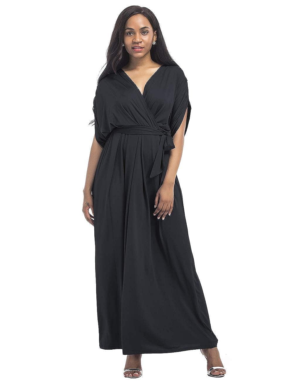 Rela Bota Women Plus Size V Neck Batwing Sleeve Casual Maxi Dress with Belt