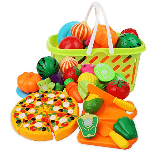 Cutting Play Food Kitchen Pretend - Grocery Basket Toys for Kids 26pcs Children Girls Boys Educational Early Age Basic Skills Development, Include Fruits Vegetables Pizza Knife Mini Dishes -