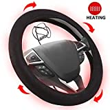 Big Ant Heated Steering Wheel Cover Auto Steering Wheel 12V Heated Protector Covers Heater Car Steering Cover Warmer Winter-Universal Fit Vehicles 15 Inches, Black