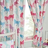 "Price Right Home Patchwork Ponies Horses Lined Curtains 54"" Drop, Pink, Blue, Multi"