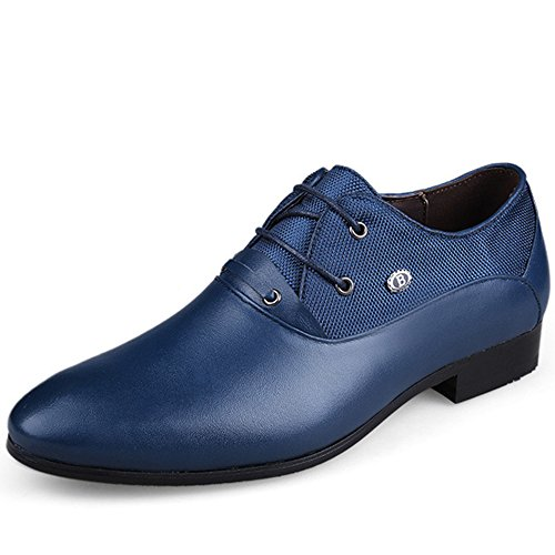 Lace Men Dress Office Oxford up Shoes Blue for REETENE Men's Business Wedding HqSFFw