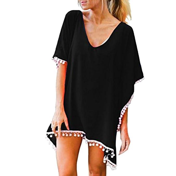 Cinnamou-Mujer Camiseta de Baño Camisolas y Pareos Ropa Traje de Bikini Cover up Suelto Vestido de Playa Borla Verano