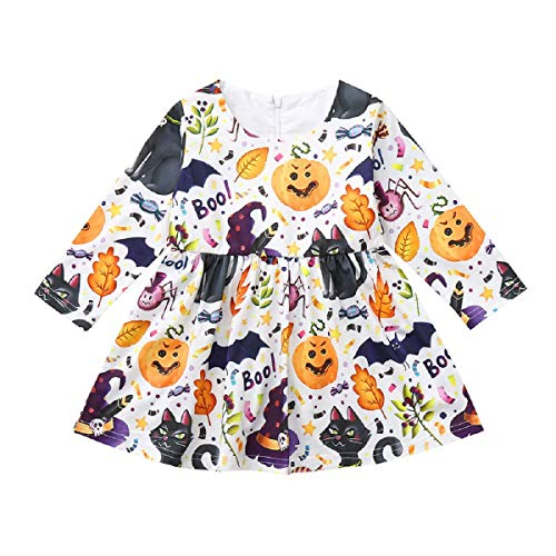 OTINICELittle Girls Halloween Costume Outfits Long Sleeve Cartoon Animals Print Party Dress