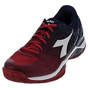 Diadora Men`s S Blueshield Clay Tennis Shoes Fiery Red and Blue Estate-(171494-C
